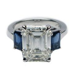 3.58 Carat Emerald Cut I VS2 certified diamond and blue Sapphire Ring certified