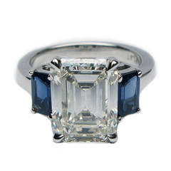 4.93 Carat Emerald Cut Diamond Blue Sapphire Ring EGL certified