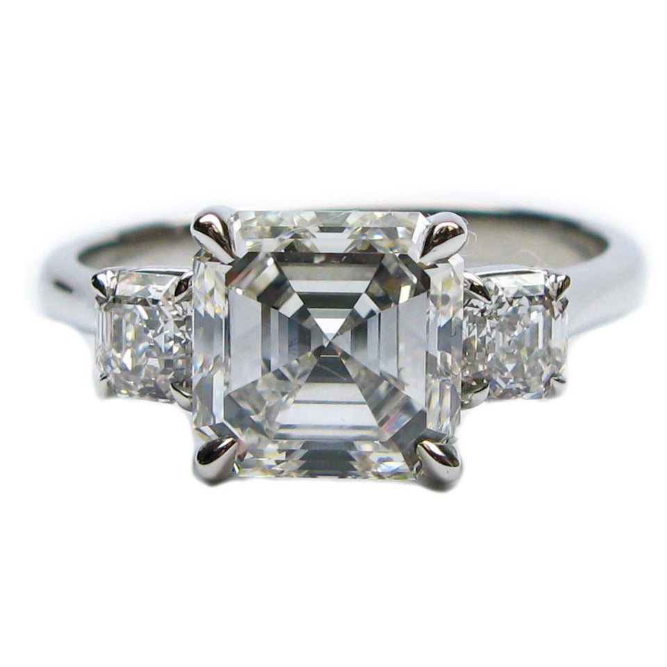 asscher platinum center cut rings pear with ct ring engagement ascher shape sides classic side diamond stone in white stones three