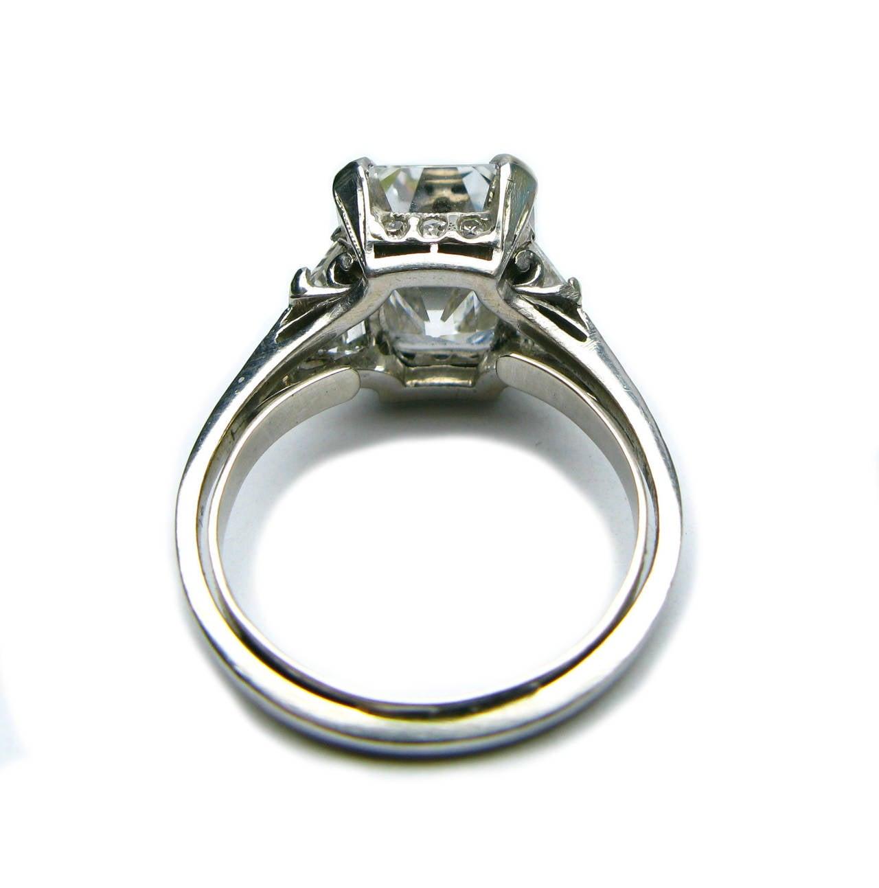 4 12 carat emerald cut deco engagement ring at 1stdibs