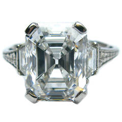4.12 Carat GIA Emerald Cut Art Deco Diamond Engagement Ring