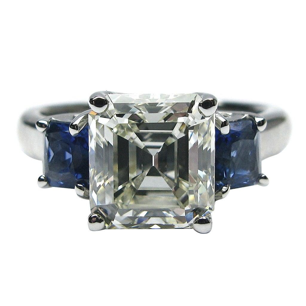 2.75 Carat Asscher Cut Diamond and Sapphire Engagement ...