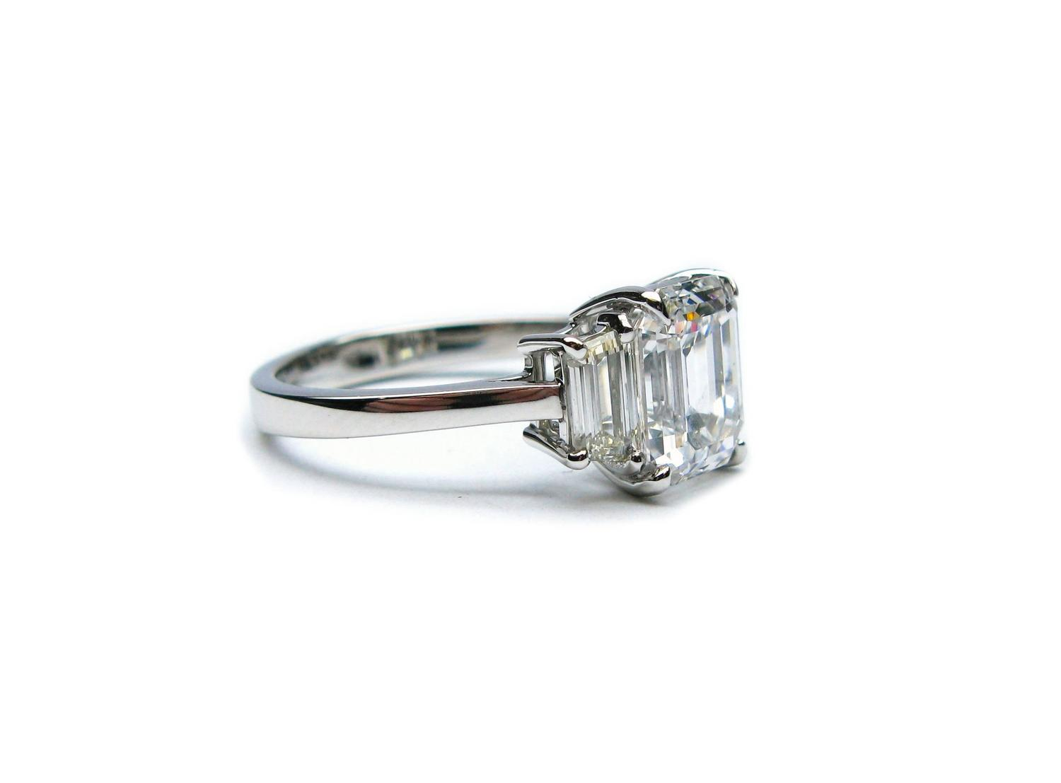 2 06 Carat Emerald Cut Diamond Platinum Engagement Ring For Sale at 1stdibs