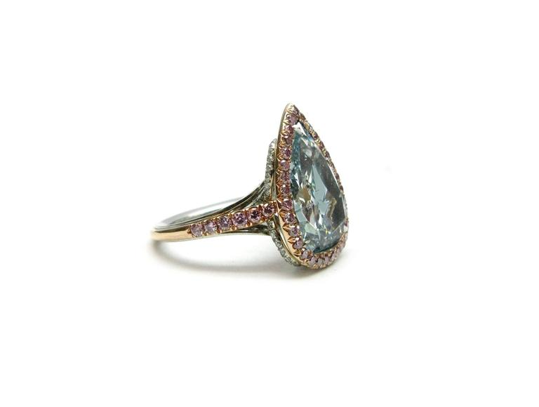Women's 5.42 Carat Natural Fancy Greenish Blue Pear Shaped Diamond Gold Platinum Ring  For Sale