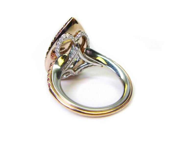 5.42 Carat Natural Fancy Greenish Blue Pear Shaped Diamond Gold Platinum Ring  6