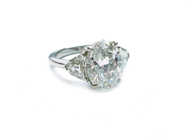 3 63 Carat GIA Cert Oval Diamond Platinum Engagement Ring at 1stdibs