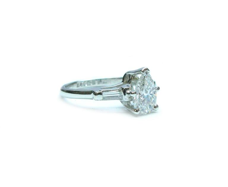 1.02 Carat Pear Shaped Diamond Platinum Engagement Ring 2