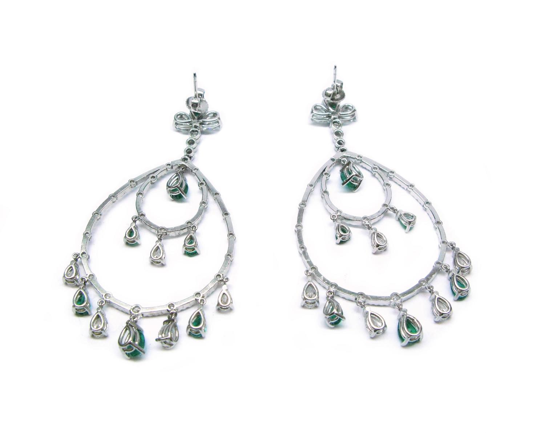Emerald Diamond Chandelier Earrings For Sale at 1stdibs
