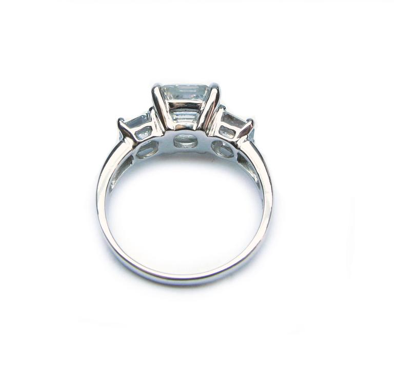 Women's 3.01 Carat GIA F VS1 Certified Asscher Diamond Platinum Three Stone Ring For Sale