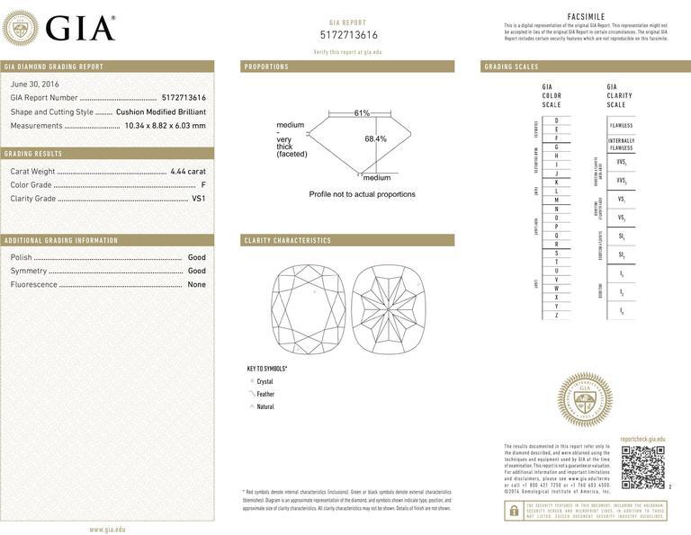 Harry Winston 4.44 Carat GIA Cert Diamond Platinum Engagement Ring 7