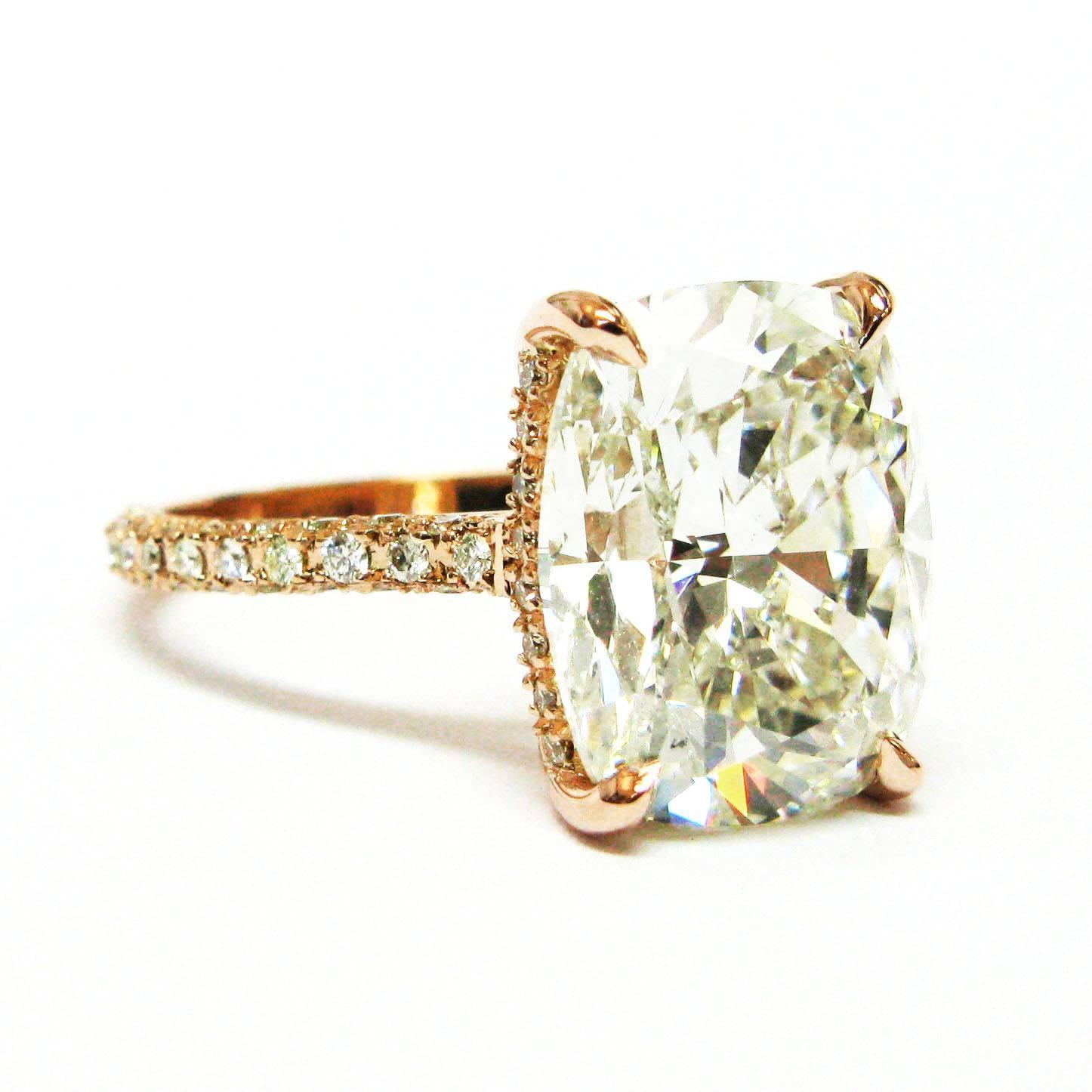 6.70 Carat Cushion Diamond Pave Gold Engagement Ring For