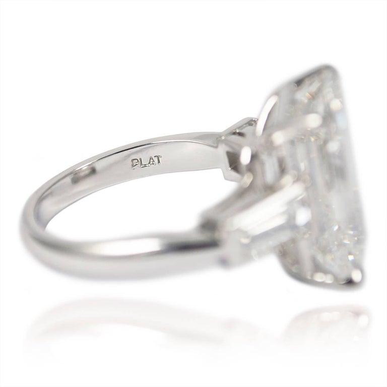 10.01 Carat Emerald Cut Diamond Platinum Classic Ring GIA For Sale 1