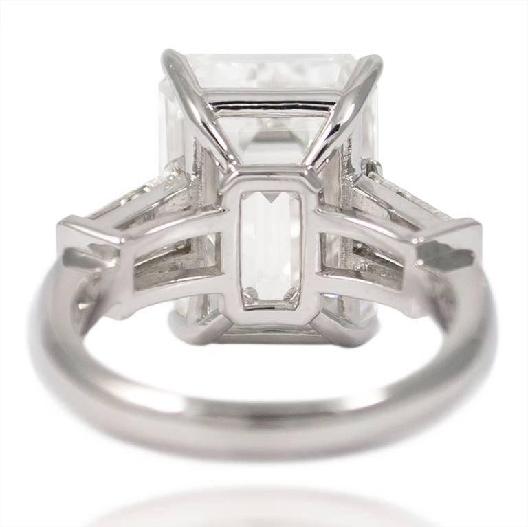 10.01 Carat Emerald Cut Diamond Platinum Classic Ring GIA For Sale 2