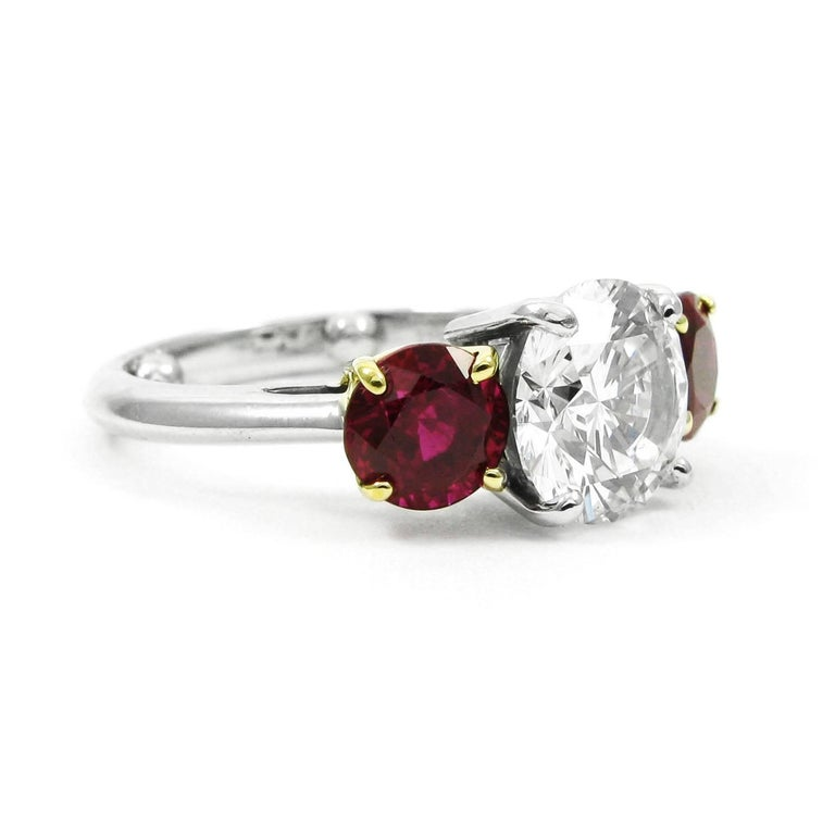 Tiffany & Co. 2.10 Carat Diamond and Ruby Three Stone Ring GIA Certified In Excellent Condition For Sale In New York, NY