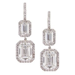 GIA Certified Emerald Cut Diamond Drop Earrings Signed by Harry Winston