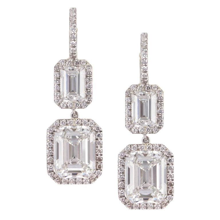 GIA Certified Emerald Cut Diamond Drop Earrings Signed by Harry Winston
