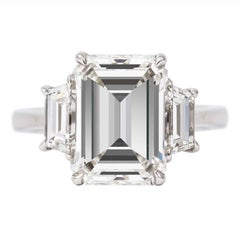 J. Birnbach GIA Certified 4.48 Carat Emerald Cut Diamond Three-Stone Ring