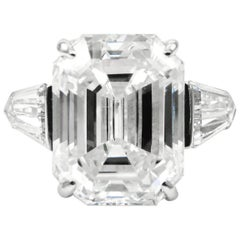 Harry Winston 6.36 Carat E VS1 GIA Certified Emerald Cut Diamond Platinum Ring