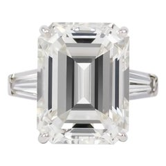 J. Birnbach GIA Certified 12.20 Carat Emerald Cut Diamond Ring