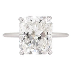 J. Birnbach GIA Certified 4.41 Carat F VS2 Radiant Cut Diamond Ring