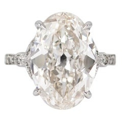 J. Birnbach GIA Certified 8.56 Carat Oval Cut Diamond Antique Style Ring