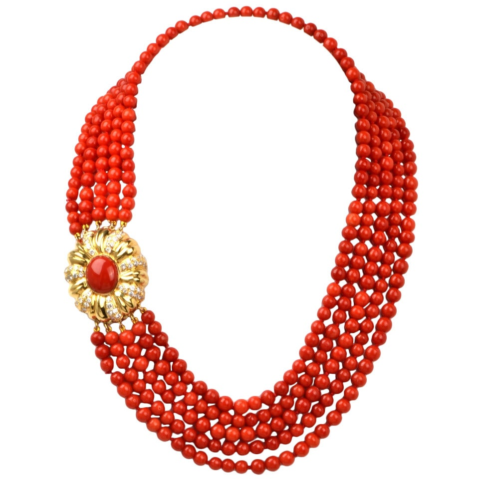 coral bead yellow gold necklace at 1stdibs