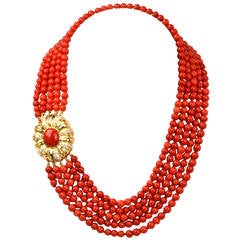 Red Coral Bead Diamond Yellow Gold Necklace