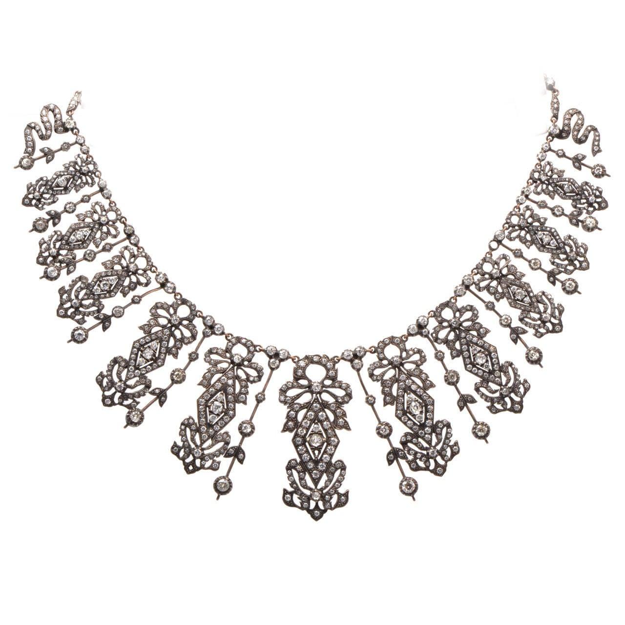 Diamond Silver Gold Fringe Necklace 1