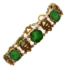 Art Nouveau Jadeite Gold Link Bracelet