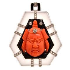 Art Deco Coral Rock Crystal Diamond Samurai Pendant
