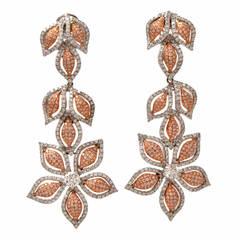 Diamond Gold Floral Pendant Chandelier Earrings