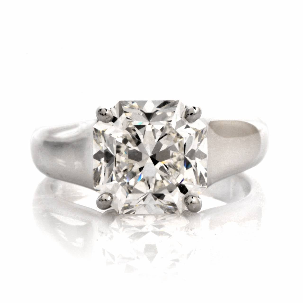 ring diamond synthetic lucida cushion cut sterling item classic gold diamonds white silver solid wedding solitaire