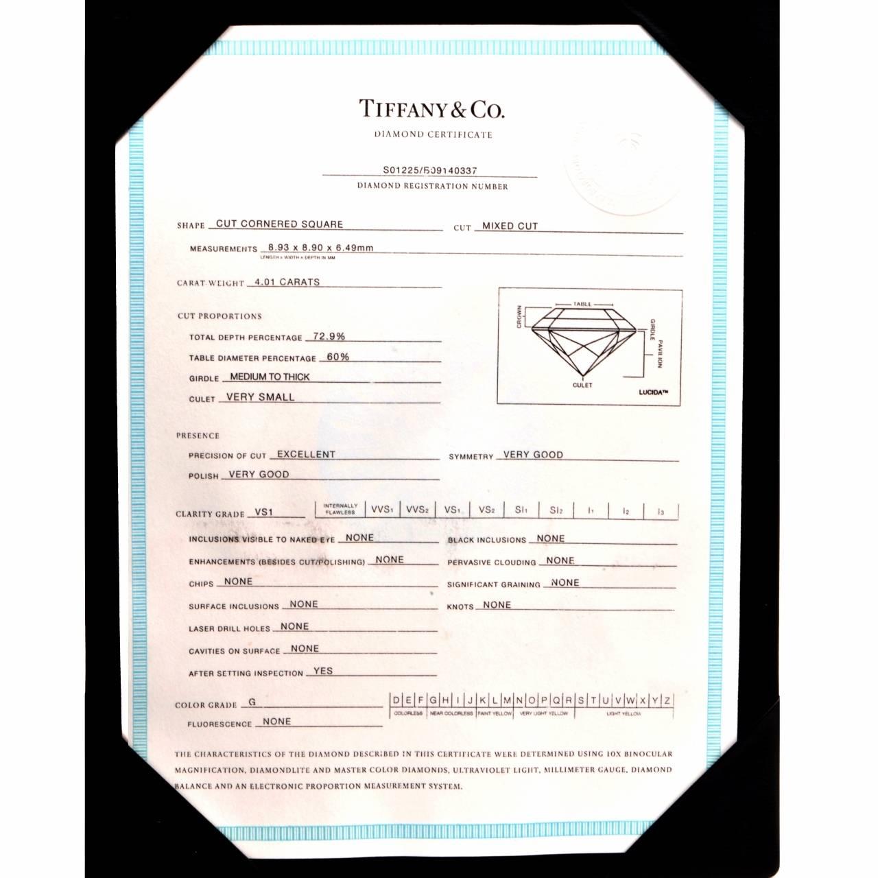 Tiffany & Co. 4.01 Carat G-VS1 Diamond Platinum  Ring 10