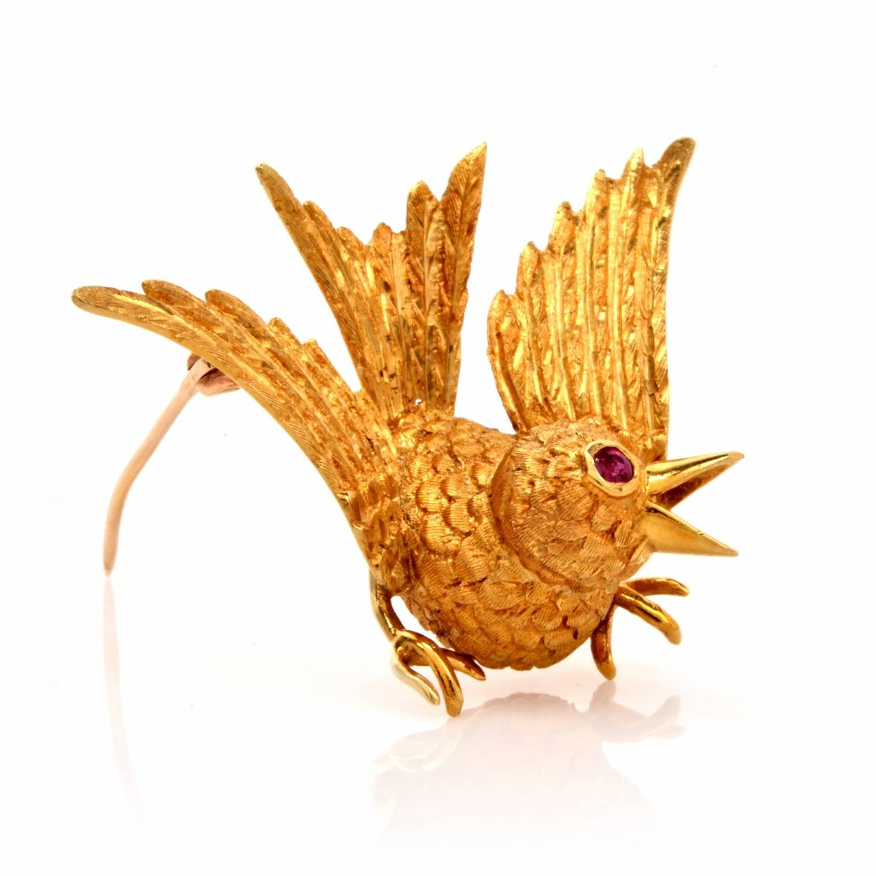 Cellino Ruby Textured Gold Bird Brooch 6
