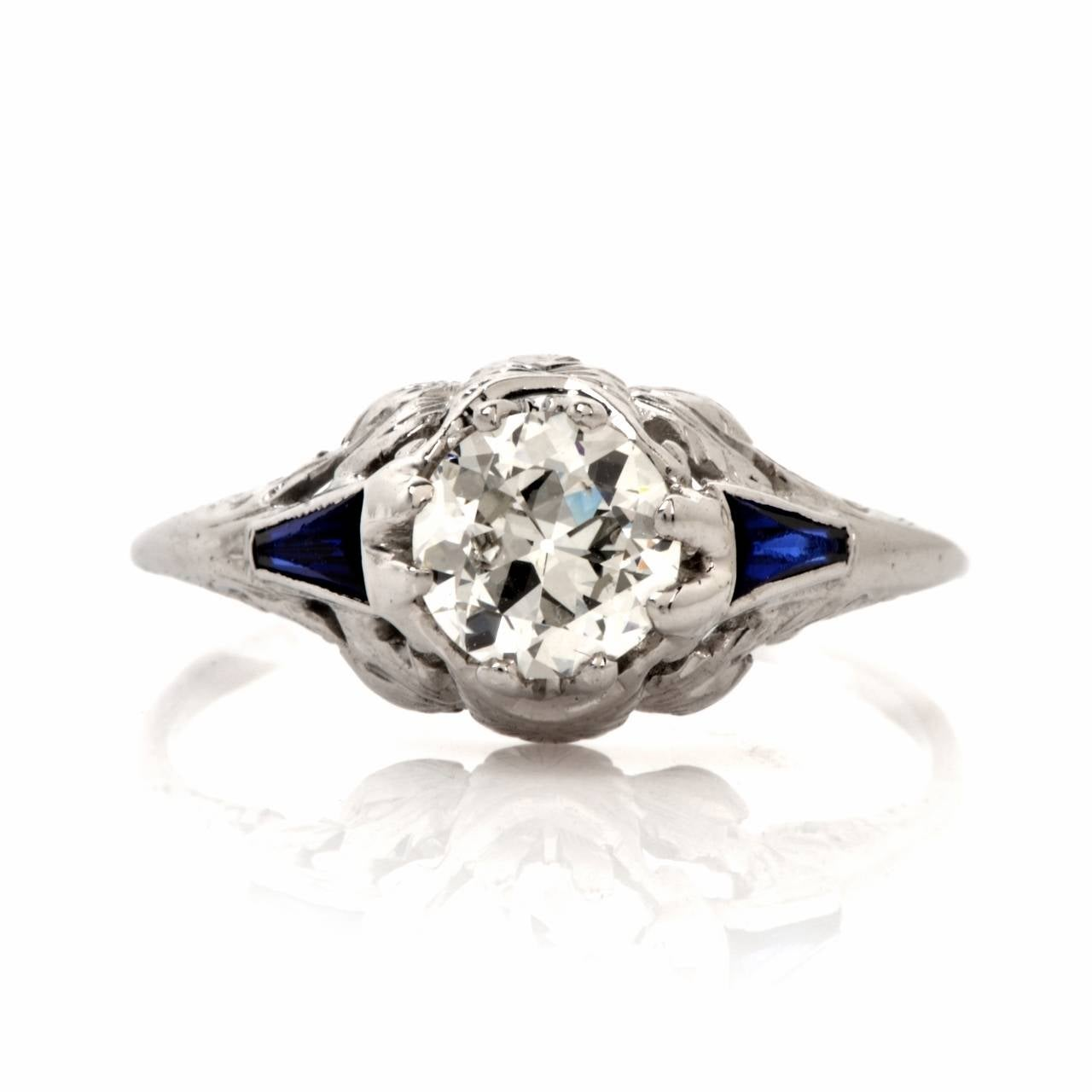 1930s sapphire platinum engagement ring for sale