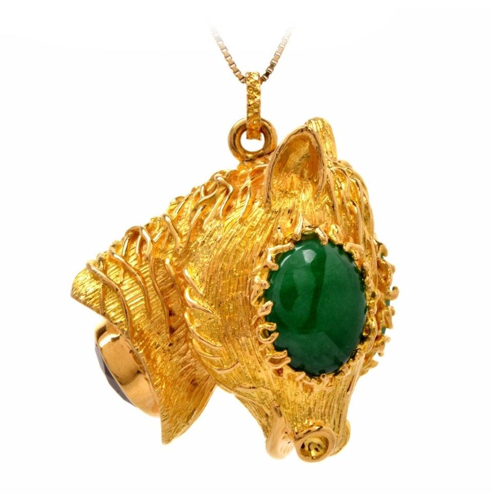 Jade Amethyst Gold Llama Head Pendant For Sale At 1stdibs