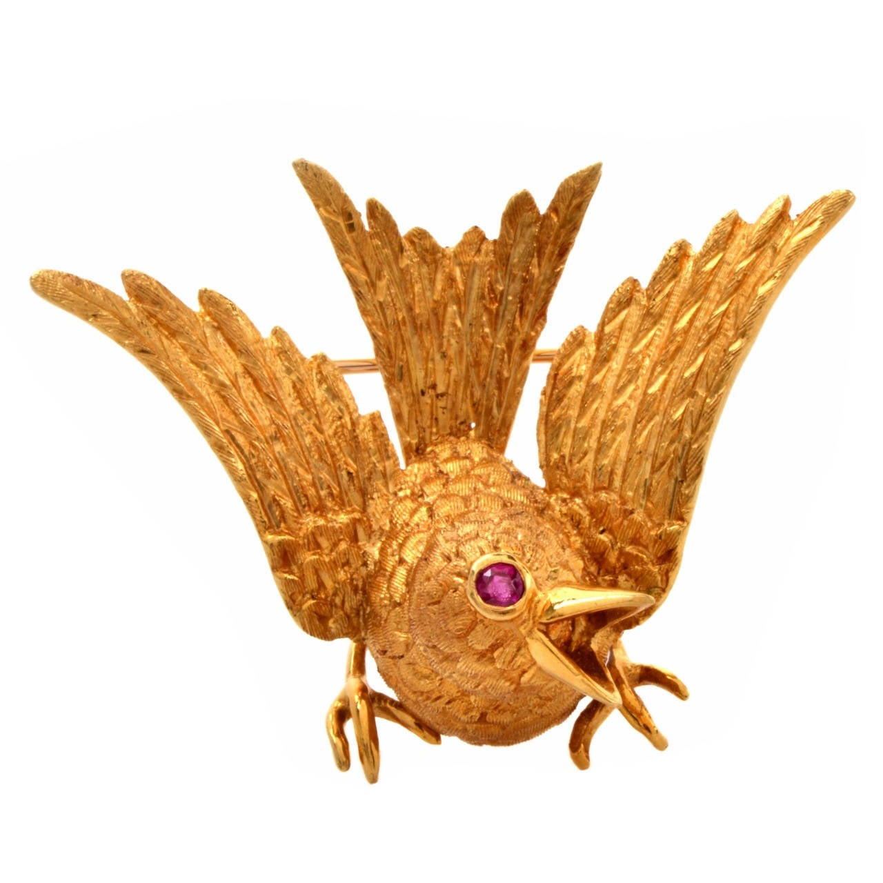 Cellino Ruby Textured Gold Bird Brooch 1