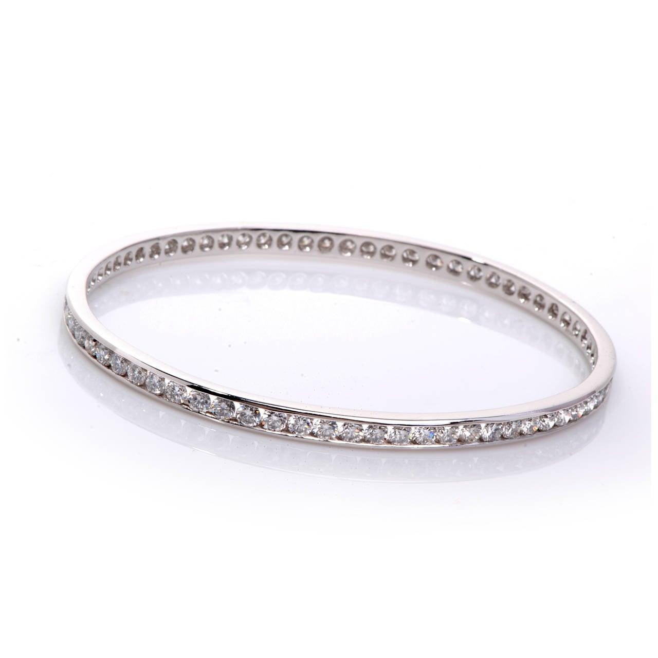 diamond platinum bangle bracelet at 1stdibs