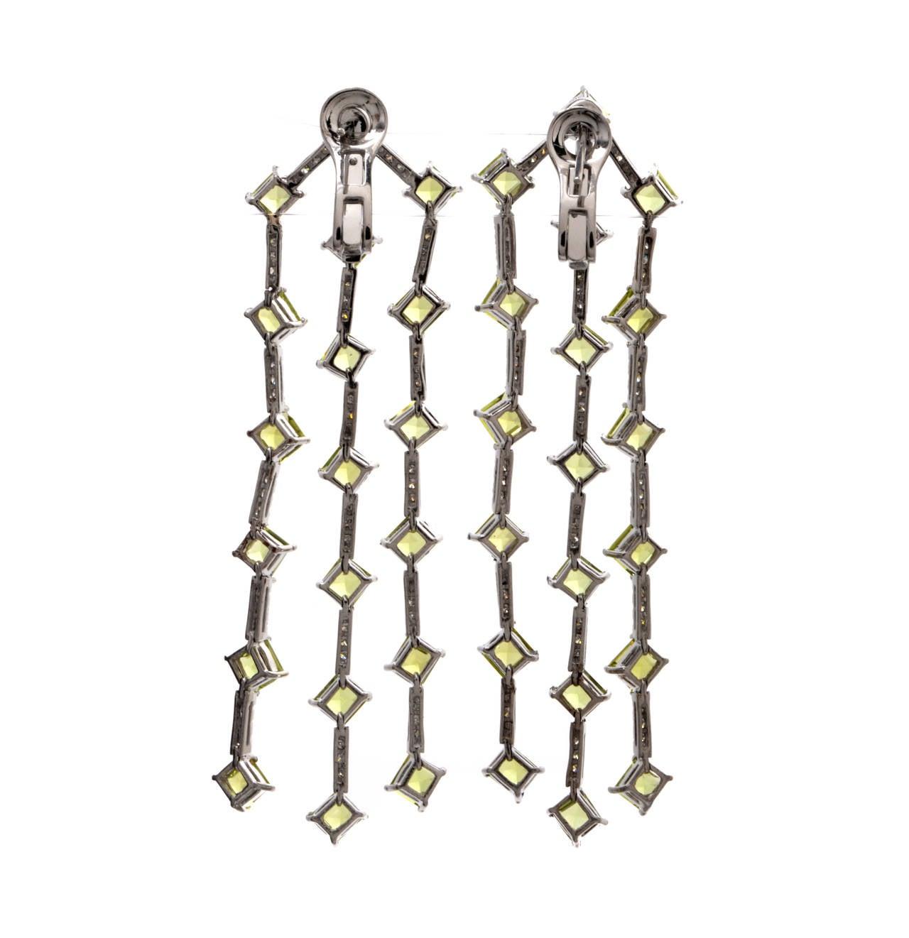 Diamond Green Peridot Platinum Chandelier Earrings At 1stdibs