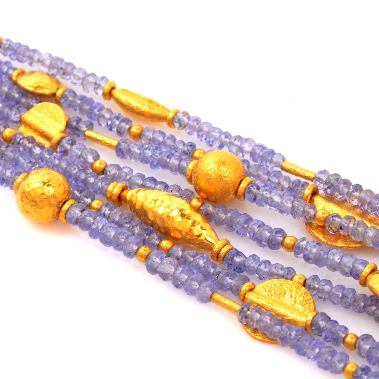 Tanzanite Bead Gold Bracelet 2