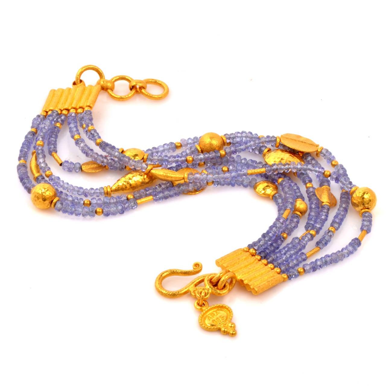 Tanzanite Bead Gold Bracelet 3
