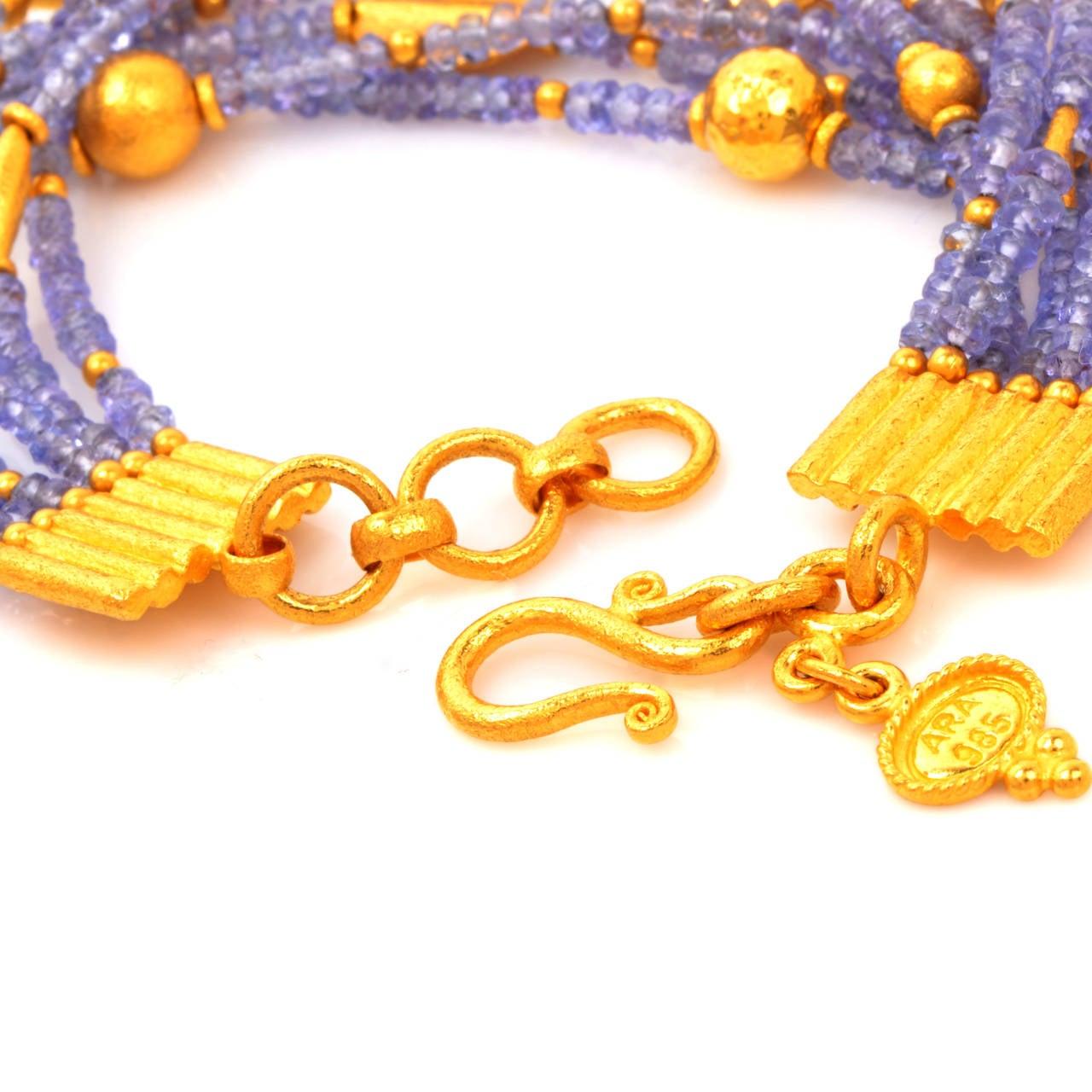 Tanzanite Bead Gold Bracelet 4