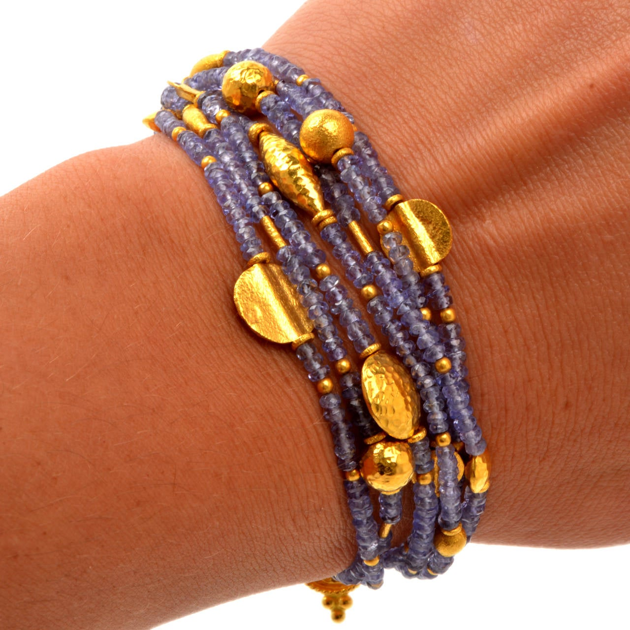 Tanzanite Bead Gold Bracelet 5