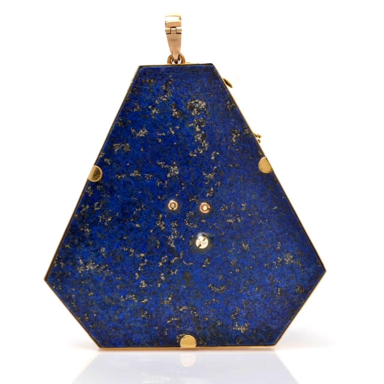 lapis lazuli gold lapel brooch and pendant at