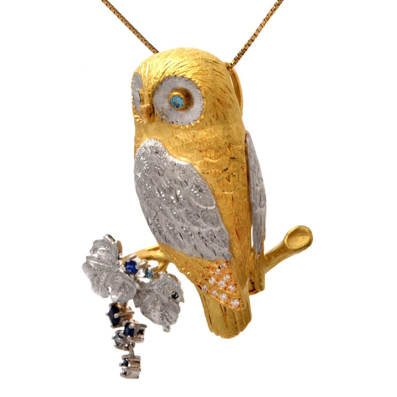 Sapphire Diamond Gold Platinum Owl Brooch Pin Pendant 2