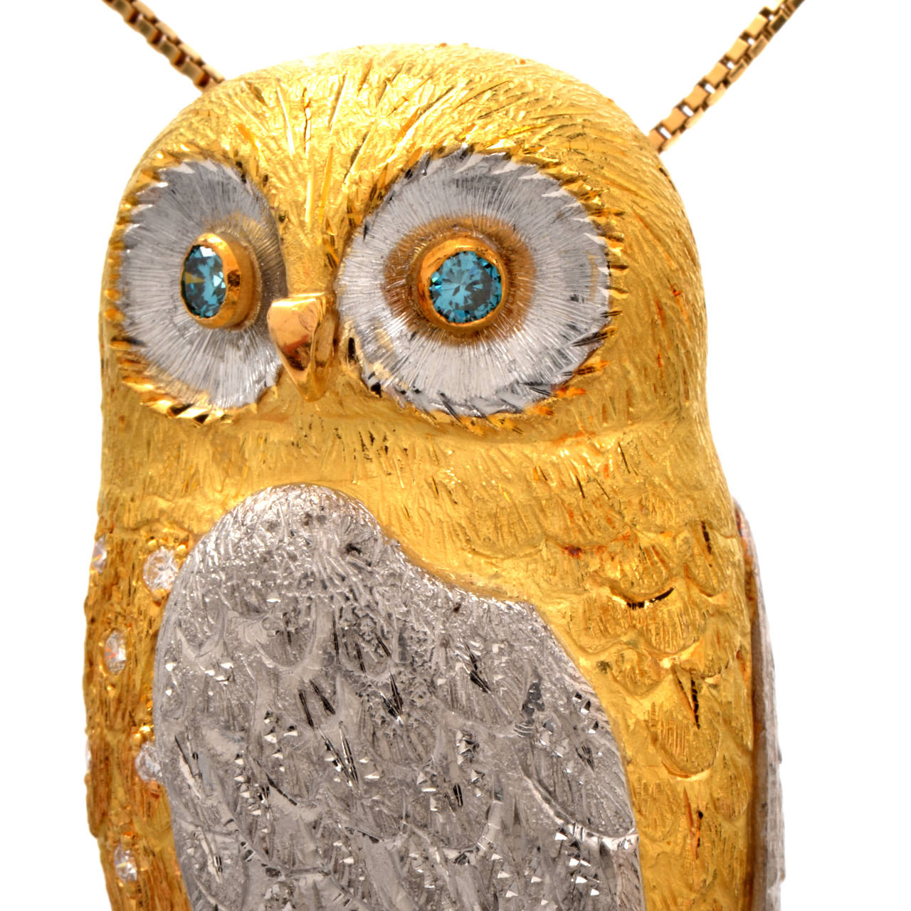 Sapphire Diamond Gold Platinum Owl Brooch Pin Pendant 3
