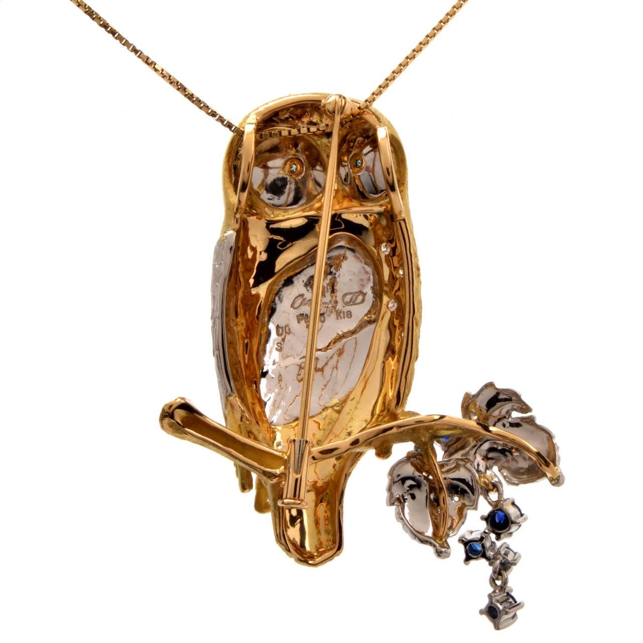 Sapphire Diamond Gold Platinum Owl Brooch Pin Pendant 4