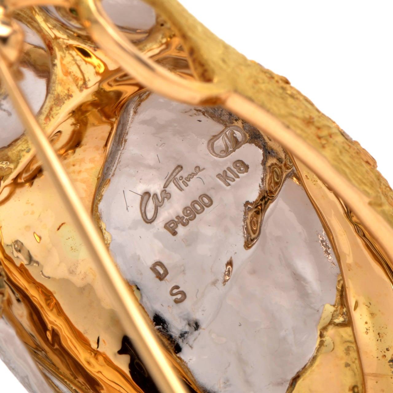 Sapphire Diamond Gold Platinum Owl Brooch Pin Pendant 5