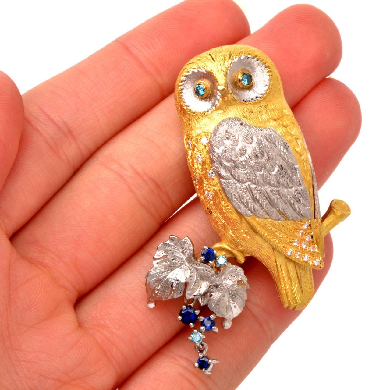 Sapphire Diamond Gold Platinum Owl Brooch Pin Pendant 6