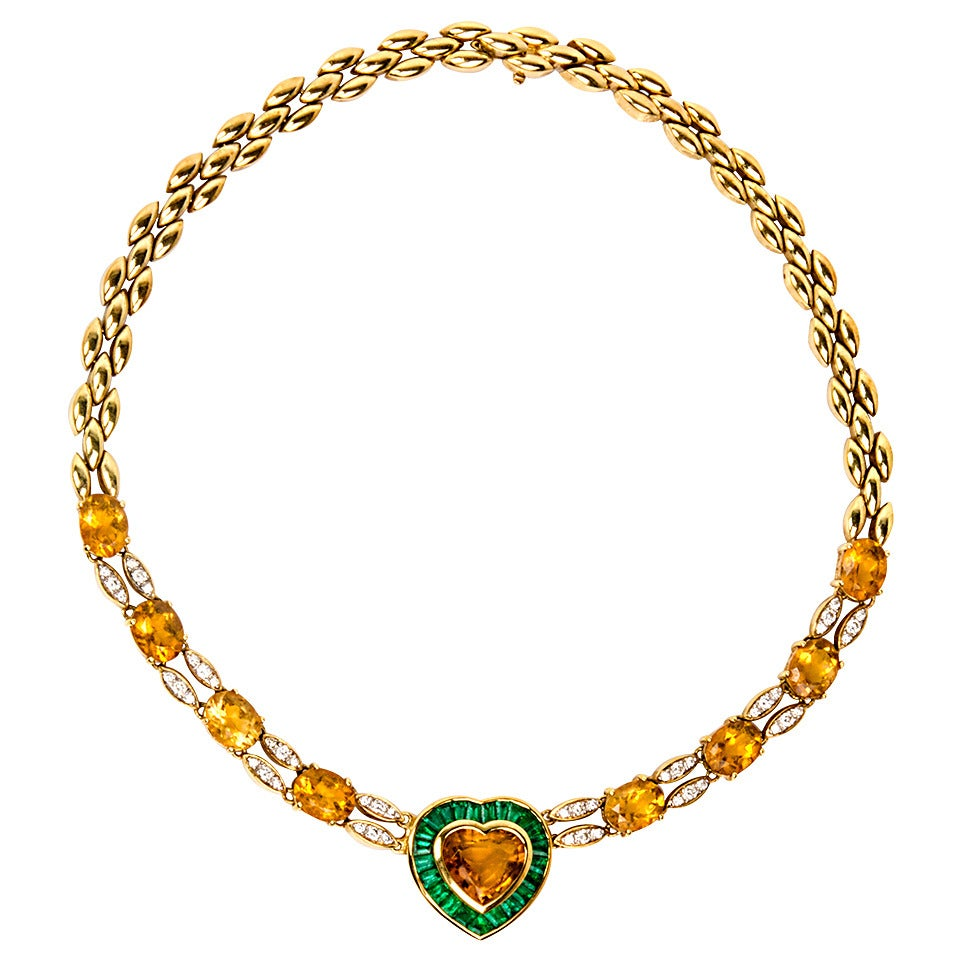 1980s Citrine Emerald Diamond Gold Heart Pendant Necklace